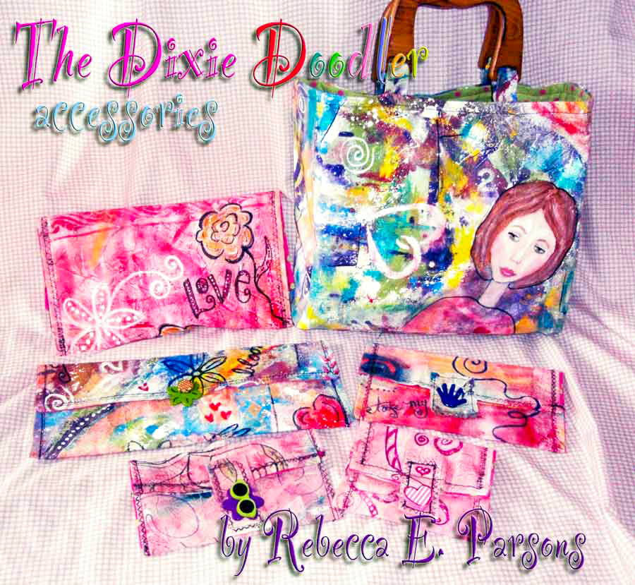 Painted Fabric Doodle Bags created by Rebecca E. Parsons