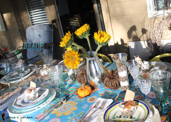 Thanksgiving table Setting The Grateful Table sunflowers with shadows
