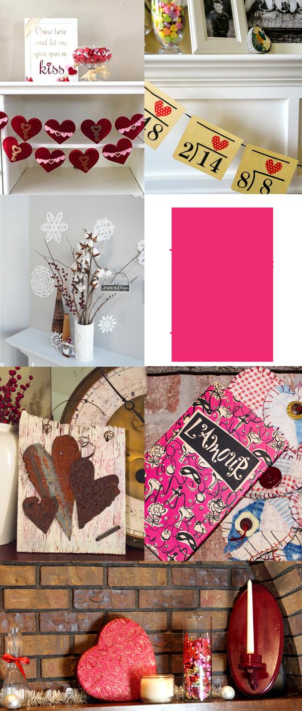 DIY Valentine Mantle Decorating Vignettes