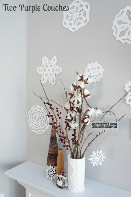 Paper snowflakes winter DIY Valentine Mantle Decorating Ideas