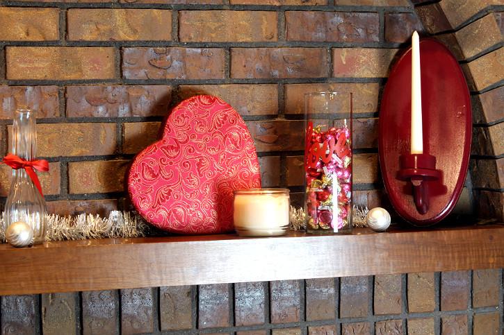 DIY Valentine Mantle Decorating Ideas by Glenda Embree