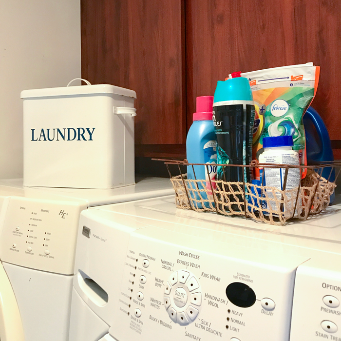 Beautiful Utility top of washer organization
