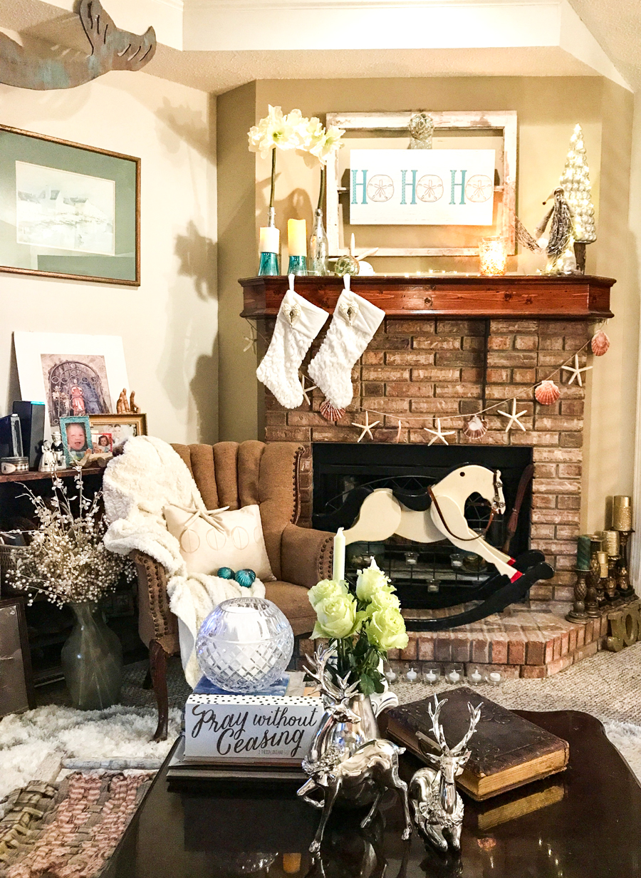 Rustic Beach Christmas Mantle decor