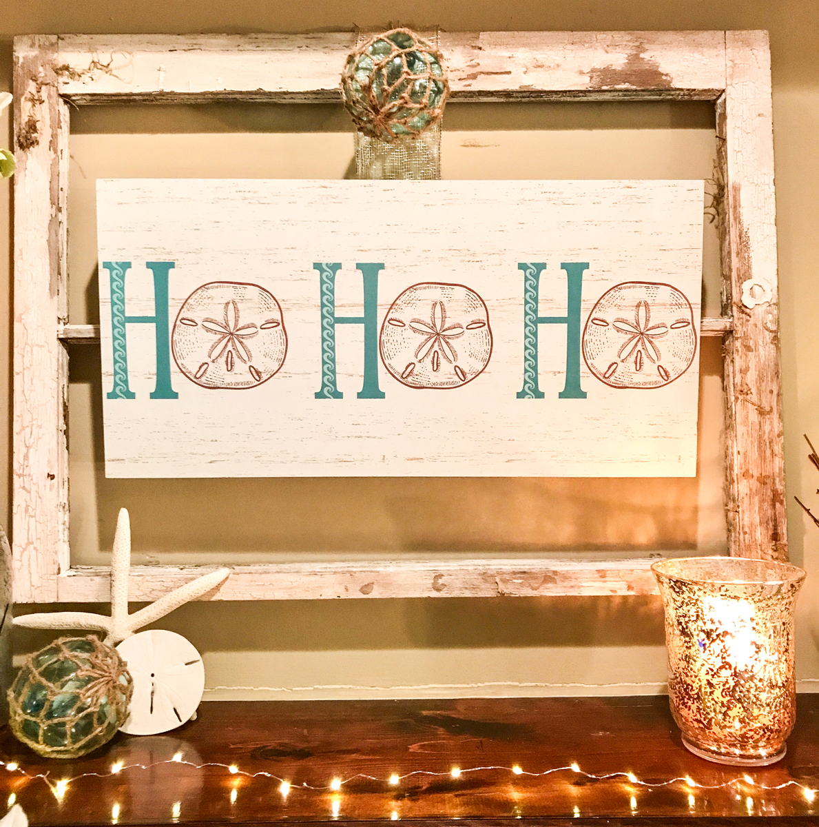 Rustic Beach Christmas Mantle focal point HO HO HO sign