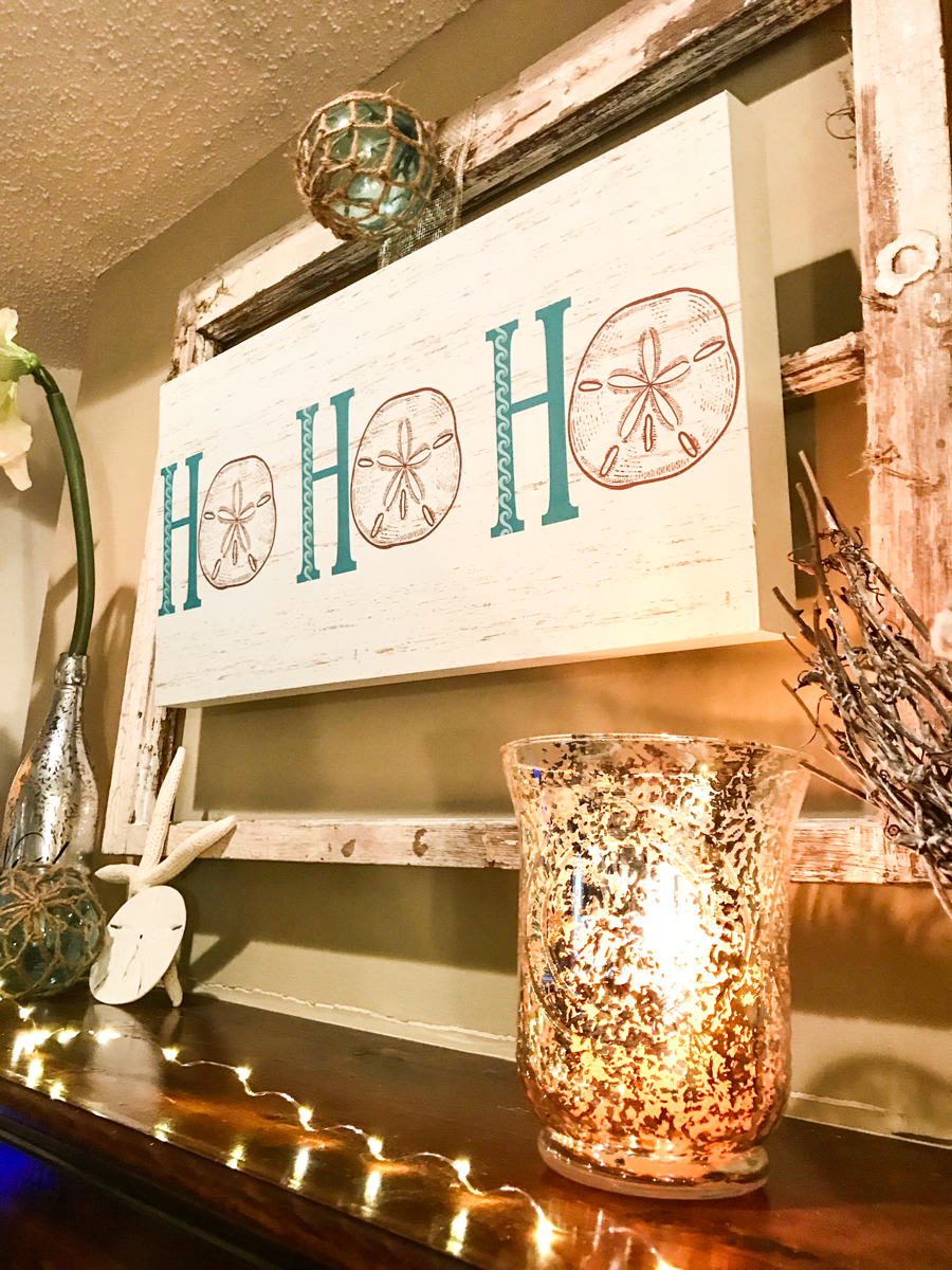 Rustic Beach Christmas Mantle mercury glass candleholder