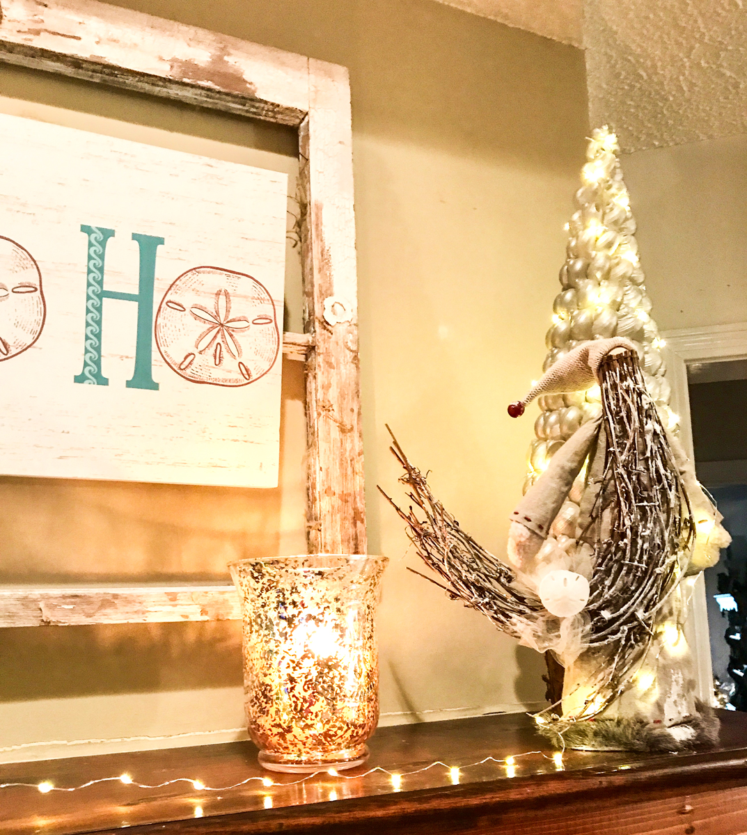 Rustic Beach Christmas Mantle right