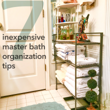 7 Inexpensive Master Bath Organization Tips shelf with towels and decor