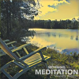 Sharing prayer with grandchildren Morning Meditation chairs by lake