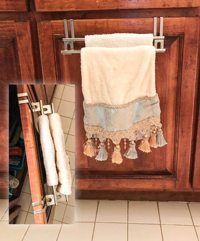 over cabinet door towel rack