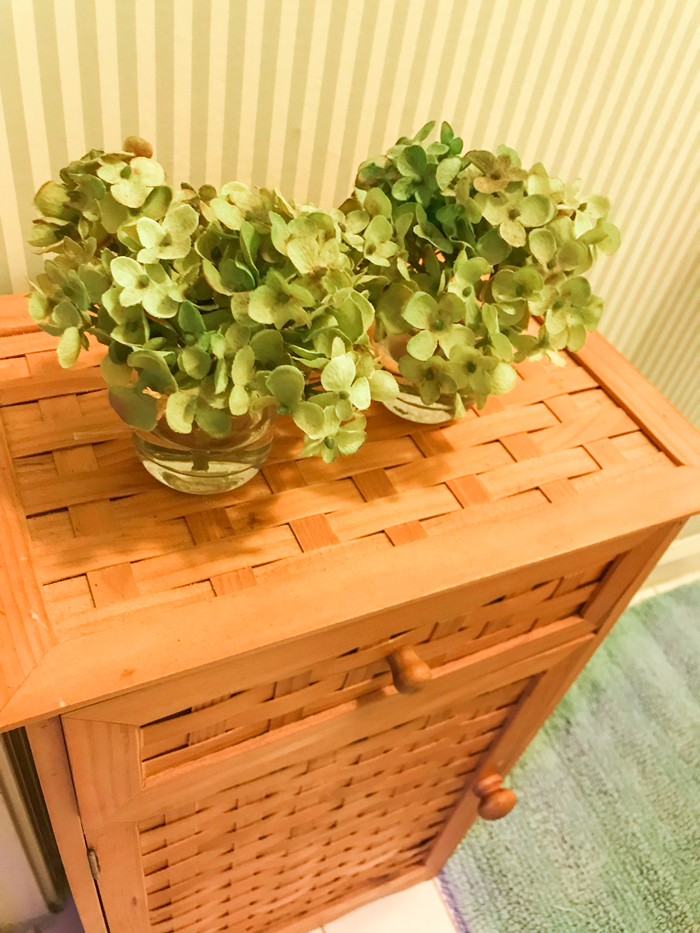 tiny storage cabinet with hydrangea plants