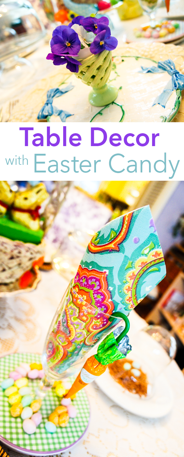Easter Breakfast Table Decor with Easter Candy