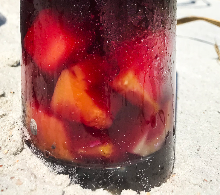 tropical fruit in the bottom of the sangria