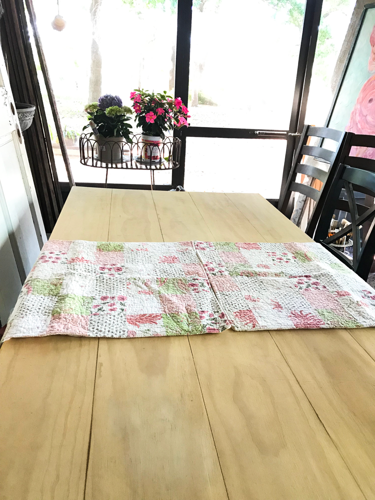 quilted table runner created with pillow shams