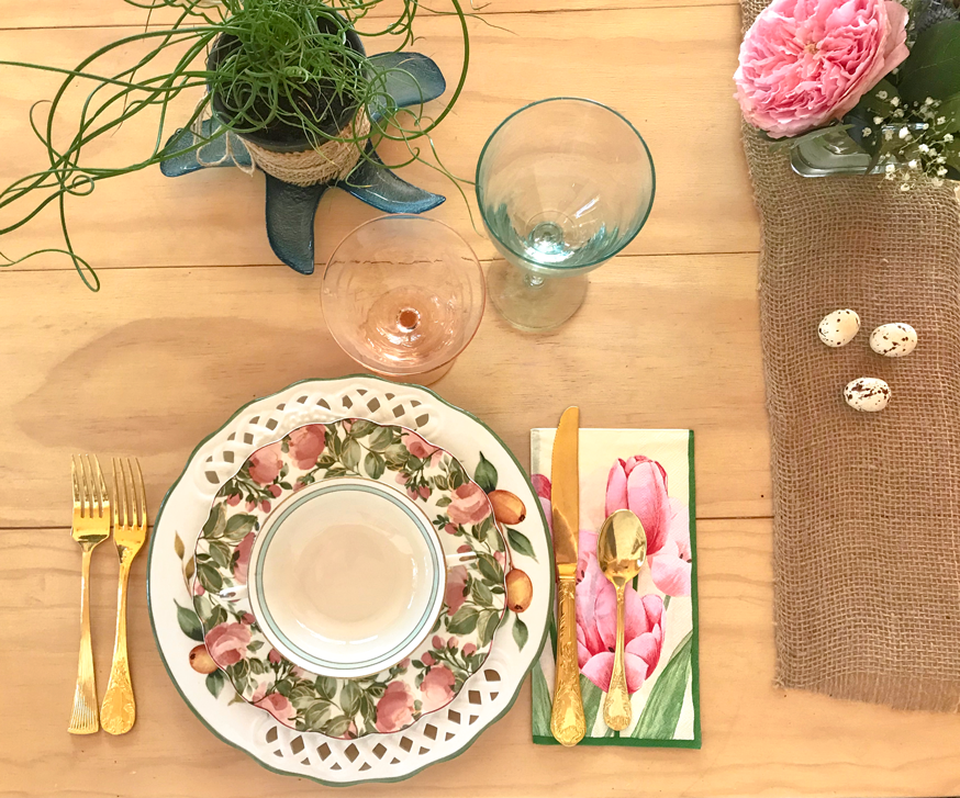 full colorful layered farmhouse tablescape place setting