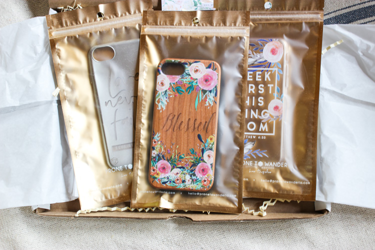 Prone to Wander LA individual phone cover packaging