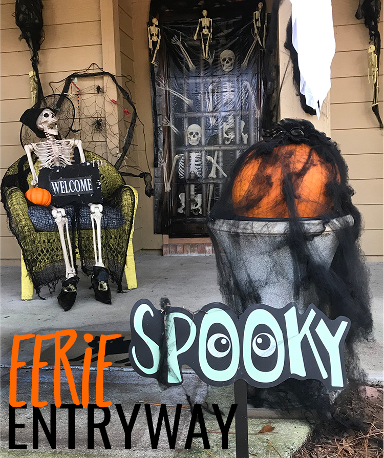 Eerie Entryway spooky sign with skeleton in chair holding welcome sign