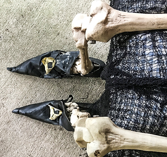 witch shoes on skeleton