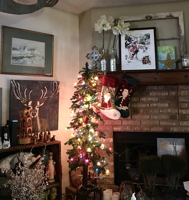 Slim Downswept Christmas Tree in cubby by mantle