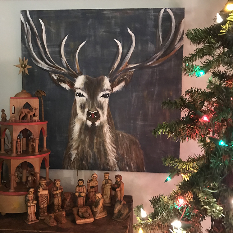 Nativity set reindeer painting