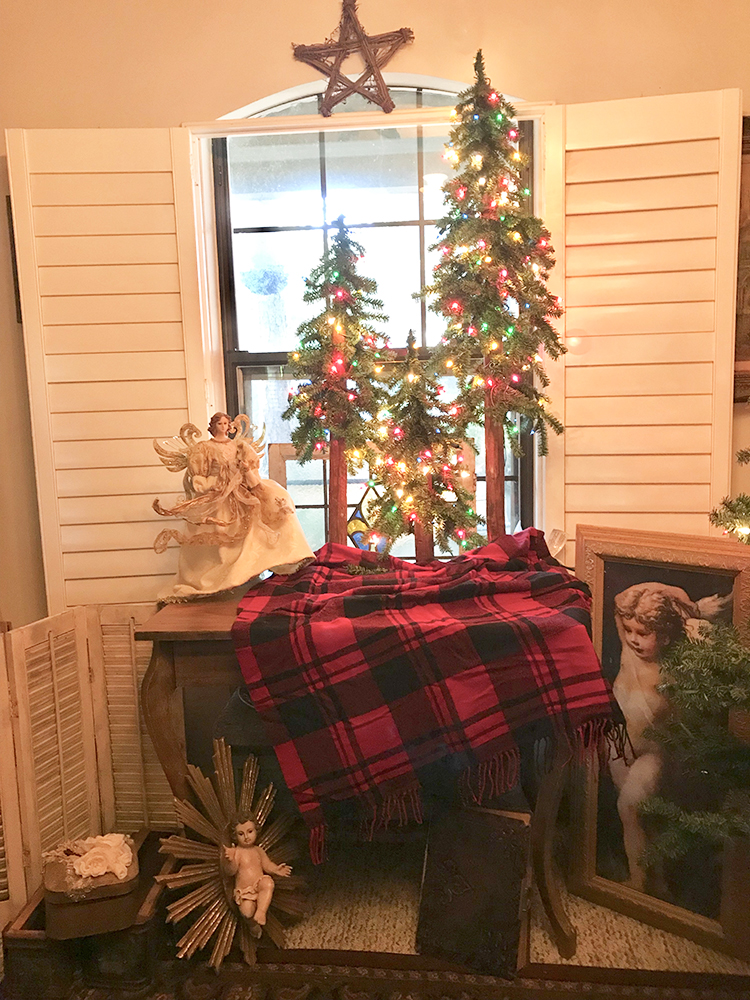 Thrifted Skirt as a Christmas Tree Skirt