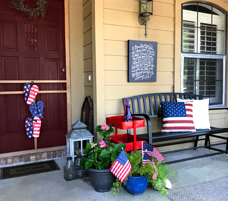 July Porch Decor side view